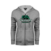 ENZA Ladies Grey Fleece Full Zip Hoodie-Binghamton University Bearcats Official Logo