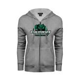 Ladies Grey Fleece Full Zip Hoodie-Binghamton University Bearcats Official Logo