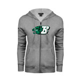 ENZA Ladies Grey Fleece Full Zip Hoodie-Bearcat Head w/ B