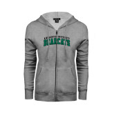 Ladies Grey Fleece Full Zip Hoodie-Arched Binghamton University Bearcats