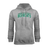 Grey Fleece Hood-Arched Binghamton University Bearcats