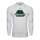 Under Armour White Long Sleeve Tech Tee-Binghamton University Bearcats Official Logo