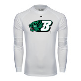 Under Armour White Long Sleeve Tech Tee-Bearcat Head w/ B