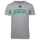 Adidas Sport Grey Logo T Shirt-Arched Binghamton University Bearcats