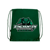 Dark Green Drawstring Backpack-Binghamton University Bearcats Official Logo