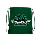 Nylon Dark Green Drawstring Backpack-Binghamton University Bearcats Official Logo