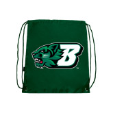 Nylon Dark Green Drawstring Backpack-Bearcat Head w/ B