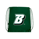 Nylon Dark Green Drawstring Backpack-B