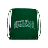 Dark Green Drawstring Backpack-Arched Binghamton University Bearcats