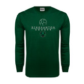 Dark Green Long Sleeve T Shirt-Soccer Ball Design