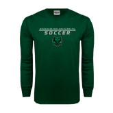 Dark Green Long Sleeve T Shirt-Soccer Stacked Design