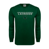 Dark Green Long Sleeve T Shirt-Lacrosse Stacked Design