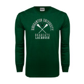 Dark Green Long Sleeve T Shirt-Lacrosse Crossed Sticks Design