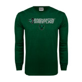 Dark Green Long Sleeve T Shirt-Wrestling Helmet Design