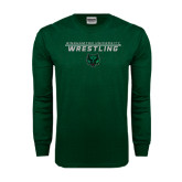 Dark Green Long Sleeve T Shirt-Wrestling Stacked Design