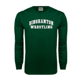 Dark Green Long Sleeve T Shirt-Arched Wrestling Design