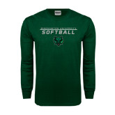 Dark Green Long Sleeve T Shirt-Softball Stacked Design