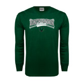 Dark Green Long Sleeve T Shirt-Softball Crossed Bats Design