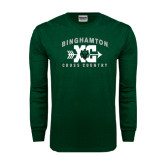 Dark Green Long Sleeve T Shirt-Arched Cross Country XC Design