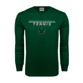 Dark Green Long Sleeve T Shirt-Tennis Stacked Design