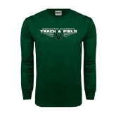 Dark Green Long Sleeve T Shirt-Track and Field Design