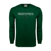 Dark Green Long Sleeve T Shirt-Track and Field Stacked Design