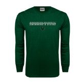 Dark Green Long Sleeve T Shirt-Swim and Dive Stacked Design