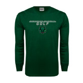 Dark Green Long Sleeve T Shirt-Golf Stacked Design