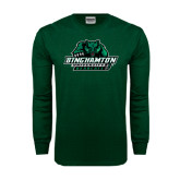 Dark Green Long Sleeve T Shirt-Binghamton University Bearcats Official Logo