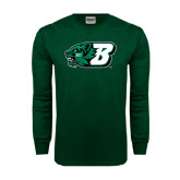 Dark Green Long Sleeve T Shirt-Bearcat Head w/ B