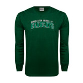 Dark Green Long Sleeve T Shirt-Arched Binghamton University Bearcats