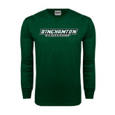 Dark Green Long Sleeve T Shirt-Binghamton University Flat