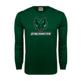 Dark Green Long Sleeve T Shirt-Bearcat Head w/ Binghamton