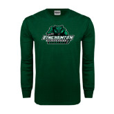 Dark Green Long Sleeve T Shirt-Binghamton University Bearcats Official Logo - Distressed
