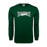 Dark Green Long Sleeve T Shirt-Crossed Bats Baseball Design