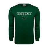 Dark Green Long Sleeve T Shirt-Baseball Stacked Design