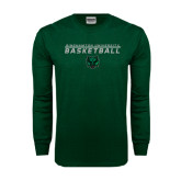 Dark Green Long Sleeve T Shirt-Basketball Stacked Design