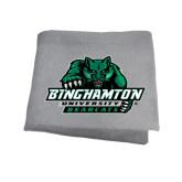 Grey Sweatshirt Blanket-Binghamton University Bearcats Official Logo