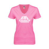 Next Level Ladies Junior Fit Ideal V Pink Tee-Binghamton University Bearcats Official Logo