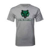Grey T Shirt-Bearcat Head w/ Binghamton