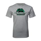 Grey T Shirt-Binghamton University Bearcats Official Logo - Distressed