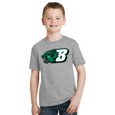Youth Grey T-Shirt-Bearcat Head w/ B