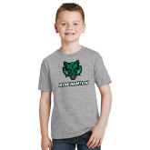 Youth Grey T-Shirt-Bearcat Head w/ Binghamton