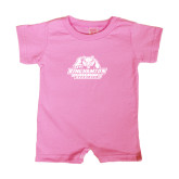 Bubble Gum Pink Infant Romper-Binghamton University Bearcats Official Logo