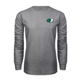 Grey Long Sleeve T Shirt-Bearcat Head w/ B