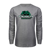 Grey Long Sleeve T Shirt-Binghamton University Bearcats Official Logo