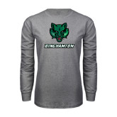 Grey Long Sleeve T Shirt-Bearcat Head w/ Binghamton
