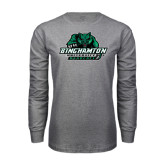 Grey Long Sleeve T Shirt-Binghamton University Bearcats Official Logo - Distressed