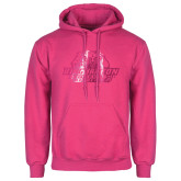 Fuchsia Fleece Hoodie-Binghamton University Bearcats Official Logo - Foil