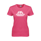 Ladies Fuchsia T Shirt-Binghamton University Bearcats Official Logo
